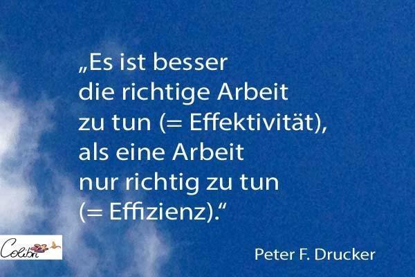 """Es ist besser die richtige Arbeit zu tun (= Effektivität), als eine Arbeit nur richtig zu tun (= Effizienz)"""". (Peter F. Drucker)"""